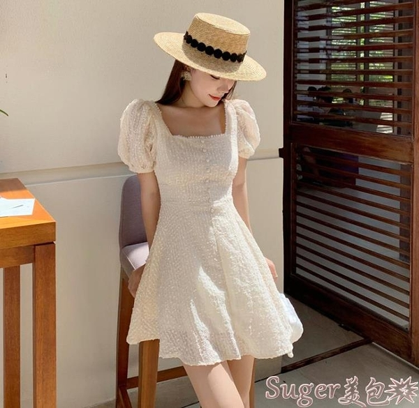 雪紡洋裝 夏裝2021新款巴厘島海邊度假裙方領短袖修身顯瘦短裙雪紡連身裙女  【618 大促】