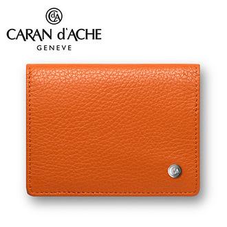 CARAN d'ACHE 瑞士卡達 LEMAN 利曼系列 小牛皮名片夾. 橙 / 個