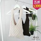 【五折價$399】糖罐子編織造型純色針織提袋→現貨【DD1978】