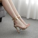 歐美新款涼鞋 女夏新款仙女風高跟中細跟一字帶百搭性感ins網紅明星同款