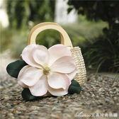 韓版夏季手工手提女包花朵度假海邊沙灘包草編包草包編織包包艾美時尚衣櫥