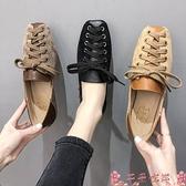 豆豆鞋2021春夏新款韓版百搭一腳蹬豆豆鞋女學生方頭淺口平底系帶單鞋秋 芊墨 618大促