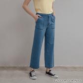 【GIORDANO】女裝純棉牛仔寬褲 - 48 淺藍
