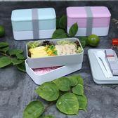 日式飯盒分格便當盒微波爐雙層長方形學生上班商務便攜餐送餐具        初語生活