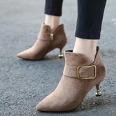 細跟靴皮帶扣高跟小跟短靴女細跟尖頭裸靴2021秋冬新款馬丁靴中跟女靴子 芊墨左岸