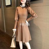 打底裙子2021季新款收腰顯瘦氣質木耳邊釘珠燈籠袖針織洋裝女 快速出貨