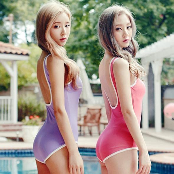 JE 泳衣比基尼 連身美背 西瓜紅色 紫色 復古 無鋼圈胸墊 泳裝溫泉比基尼 【487A】