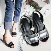 粗跟涼鞋新款春夏歐美高跟鞋復古魚嘴大尺碼40腳寬胖肥41女鞋43 開學發燒必備