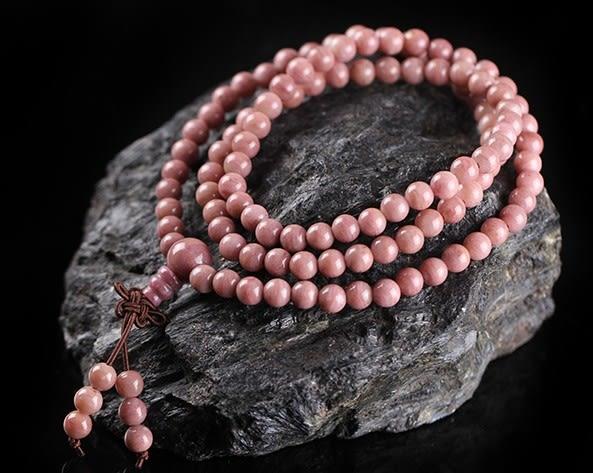 [協貿國際]天然薔薇輝石108顆佛珠手鍊單條價