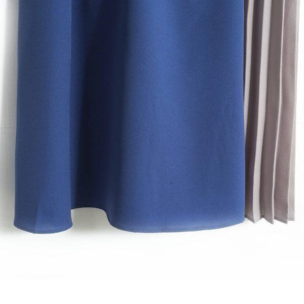 秋冬單一價[H2O]不對稱百褶剪接大裙襬飄逸雪紡長裙 - 黑×深藍/黑/淺藍×灰色 #8632002