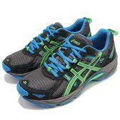 Asics 越野慢跑鞋 Gel-Venture 5 GS 黑 綠 緩衝性能 戶外 女鞋 大童鞋 運動鞋【PUMP306】 C584N-9685