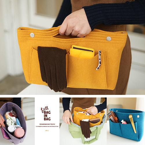 【韓國創意品牌 invite.L】袋中袋 毛氈質感可手提設計 包包收納幫手 手機/平板電腦/記事本收納