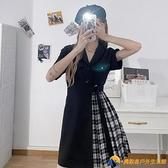 胖mm大碼女裝西裝法式黑色遮肚子連衣裙新款早春chic【勇敢者】