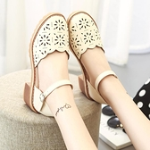 新款涼鞋鏤空淺口女涼鞋包頭粗跟中跟英倫復古瑪麗珍鞋鞋女涼鞋