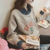 2018秋裝新款韓版超火加絨刺繡翻領假兩件衛衣女學生BF風套頭上衣 嬌糖小屋