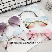太陽眼鏡新品無框切邊多邊形墨鏡沙灘防紫外線太陽鏡女士彩色漸變眼睛 耶誕交換禮物