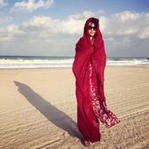 春夏季超大棉麻圍巾純色民族風海邊度假防曬披肩沙灘巾絲巾紗巾女    韓小姐