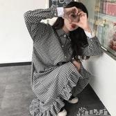 初秋女裝韓版小清新學生寬鬆襯衫長裙顯瘦中長款洋裝/連身裙 奇思妙想屋