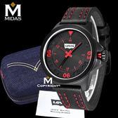 LEVIS 男錶 浮雕經典撞色 石英錶 雙車線紅色皮錶帶 50米防水錶 Levi's 男手錶 經典盒裝/黑/43mm