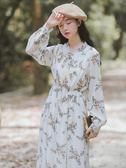 很仙的秋冬季碎花雪紡加絨洋裝女2018新款復古法式收腰裙子長裙 時尚芭莎