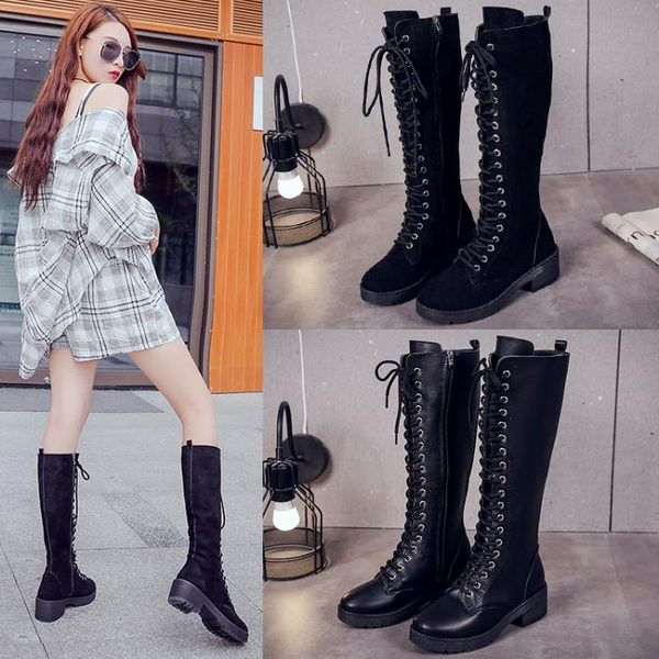 膝上靴 長靴女過膝交叉綁帶粗跟騎士靴高筒百搭長筒靴子 艾莎嚴選
