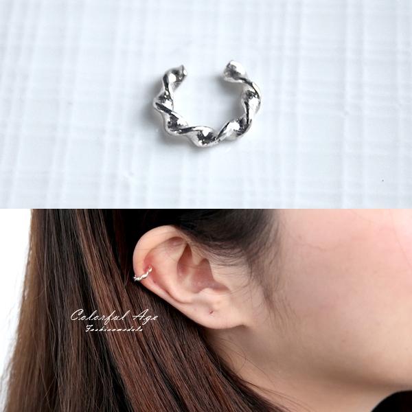 銀飾 扭轉曲線耳骨夾NPD193