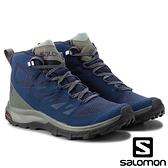 【SALOMON 法國】男 OUTline Mid GTX 中筒登山鞋『古藍/灰綠/灰綠』404764 多功能鞋.健行鞋.登山鞋