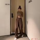 西裝褲 LGGSTYLE棕色高腰直筒西裝長褲寬鬆休閒闊腿褲子女2021新款 愛丫 新品