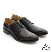 A.S.O 職人通勤 經典素面尖頭德比紳士鞋 黑