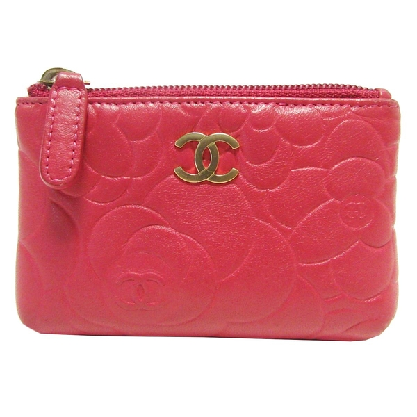 CHANEL 香奈兒 桃紅色牛皮山茶花拉鍊零錢包 Camellia Coin Purse Wallet【BRAND OFF】