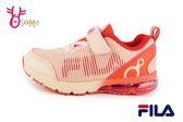 FILA 運動鞋 女童 中大童 氣墊 透氣 慢跑鞋 O7645#粉橘◆OSOME奧森童鞋