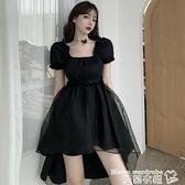小禮服 2021夏季新款法式小眾方領燕尾禮服裙子氣質黑色不規則連身裙女裝 曼慕
