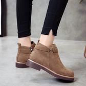 2018新款馬丁靴女英倫風學生韓版百搭粗跟短靴女圓頭短筒及裸靴