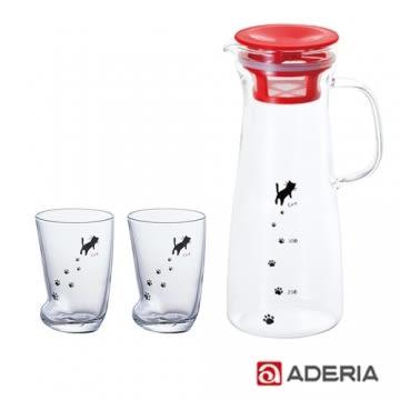 【ADERIA】夏季清涼貓咪把手冷水瓶組(紅)