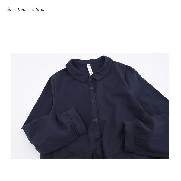 a la sha 多摺片飛飛的襯衫洋裝