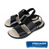 【PEGADA】巴西名品時尚真皮紳士涼鞋  黑色(131262-BL)