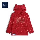 Gap女嬰兒加絨徽標LOGO熊耳連帽衫525834-摩登紅色