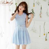 洋裝 假項鍊蕾絲印花無袖洋裝 附皮帶-藍色-Ruby s露比午茶