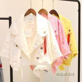 春裝新款韓版寬鬆西裝領毛邊飄帶牛仔短外套女休閒夾克上衣潮「時尚彩虹屋」