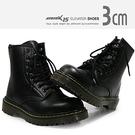MNX15 - 時尚綁帶8孔中筒馬丁靴 pitch-黑 UP 3 cm