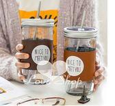 【Love Shop】送杯套+吸管 文青咖啡杯 簡約風皮革杯套吸管大號 玻璃梅森瓶(600ml)梅森杯