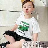 小孩短袖上衣 男童純棉印花短袖T恤夏裝夏季幼兒童裝寶寶上衣【小酒窩】