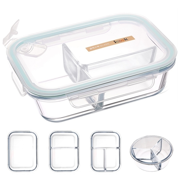 可微波 耐熱玻璃便當盒 密封 微波便當盒 多格/分格/分隔/兩格/三格 便當盒 餐盒保鮮盒【RS876】