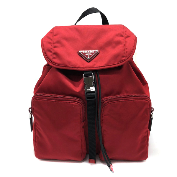 【台中米蘭站】全新品 PRADA 三角Logo雙口袋尼龍後背包(1BZ005-紅)
