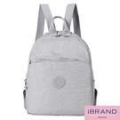 【i Brand】輕盈防潑水素色大口袋尼龍後背包-淺灰色 MDS-8502-米白