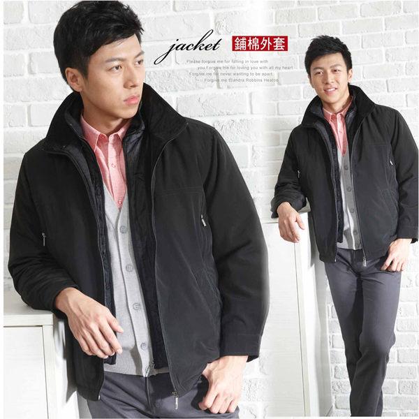 【大盤大】J67829 男 冬 黑 假兩件 立領 拉鍊外套 鋪棉外套 保暖 防風外套 夾克【L和2XL號斷貨】