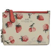 茱麗葉精品【 全新現貨】 COACH 23676 防刮草莓櫻桃圖案證件鑰匙零錢包.白