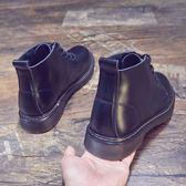 中筒黑色馬丁靴男潮2018冬季英倫風靴高筒皮鞋大頭短靴男靴子  西城故事