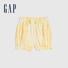 Gap嬰兒 布萊納系列 甜美印花純棉鬆緊短褲 669595-淺黃色
