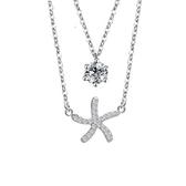 項鍊 925純銀鑲鑽吊墜-雙層海星生日情人節禮物女飾品73dk28【時尚巴黎】